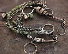 VENTE 10-20 % de rabais African Turquoise bracelet Bracelet chaîne Multi • brut argent • charme bracelet chaîne bracelet
