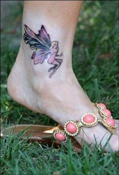 Denise Richards fairy tattoo on the ankle
