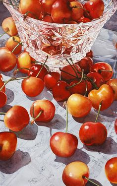 "Bing Cherries Image Size: 40"" x 24"" Transparent Watercolor on Paper by Soon Warren. (I can't believe this is done with watercolours - how incredibly beautiful)"