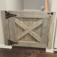 This Farmhouse Baby ( or dog) Gate can be customized to fit any stairway, doorway or… Barn Door Baby Gate, Barn Doors, Pet Gate, Sliding Doors, Rustic Home Interiors, Baby Gates, Diy Baby Gate, Child Gates, Diy Home Decor Projects