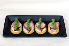 For an easy, but elegant appetizers top crackers with thinly sliced roast beef…