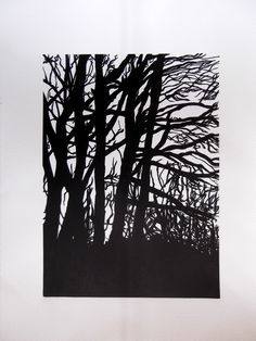 Beeches, Dartmoor. One plate vinylcut.