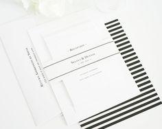 Nautical Wedding Invitation - Black, White, Striped - Boxed Monogram Invitation - Nautical Wedding Invite on Etsy, $6.50