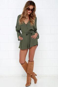 Sheer Your Secrets Olive Green Romper at Lulus.com!