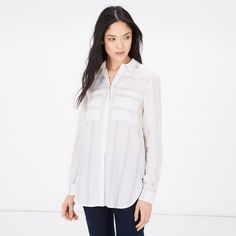 Warehouse, Relaxed Textured Stripe Shirt Neutral Stripe 1