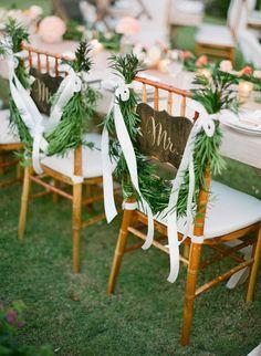 #chair-decor  Photography: Jemma Keech - jemmakeech.com  Read More: http://www.stylemepretty.com/2014/09/11/romantic-cliff-top-wedding-by-the-sea-in-bali/