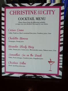 Sex & The City Themed Bridal Shower. Drink Menu for the Bar.