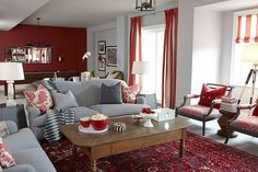 Grey and red. What a great colour combo....for a living room