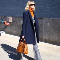 On trend 70s styling on the street at NYFW Fall15 RTW shows. www.stylestaples.com.au