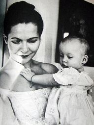 Young Tasha Tudor with baby