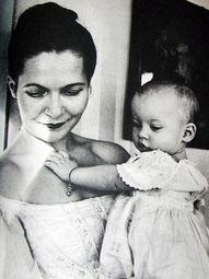 Young Tasha Tudor with baby