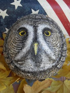 Great Grey Owl OOAK Hand Painted Rock Sculpture by CCRockCreations, $155.00