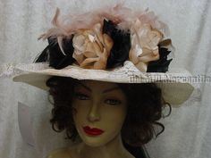 Old West Downton Abbey style Elsie Massey Victorian Black and Ivory Hat 13070 #ElsiieMasseyOriginals #VictorianEdwardian