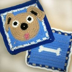 Ruff the Dog and Bone Granny Square Crochet PATTERN - Original - 2 different squares - PDF via email. $8.00, via Etsy.