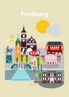 Städteposter Freiburg Travel Poster 30 x 45 cm