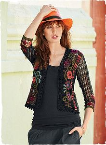 Brilliant vining flowers framed with a mosaic stripe form an elaborate pattern on this collectible pima art knit. Masterfully handcrocheted in… Cotton Crochet, Irish Crochet, Crochet Top, Crochet Jacket, Crochet Cardigan, Summer Cardigan, Look Boho, Casual Outfits, Fashion Outfits