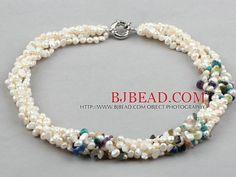 Cinco ejes de perla de agua dulce blanca y collar multicolor chips