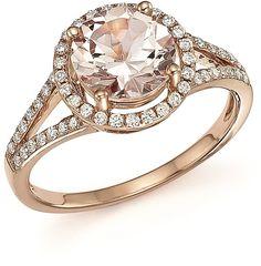 Morganite and Diamond Halo Ring in 14K Rose Gold