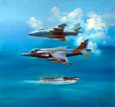 Harrier GR Mk 1 and Sea Harrier over HMS 'Hermes', Falklands War