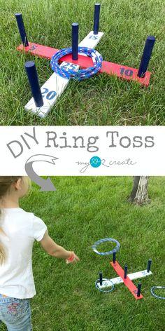 DIY Ring Toss DIY Ring Toss Game, summer fun project, tutorial at Diy Yard Games, Diy Games, Backyard Games, Outdoor Games, Garden Games, Camping Diy, Camping Games, Outdoor Camping, Backyard Camping