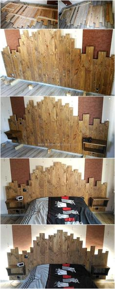 These images shown below will simply show out the most wonderful idea of reusing the scrap pieces of wasted pallet slats for the designing of this much attractive creation. This upcycled wood pallet headboard with side table seems perfect to design with the different sizes of pallets put together. This charming creation is simple yet modern in appearance.