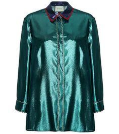 GUCCI Metallic Silk-Blend Shirt. #gucci #cloth #tops