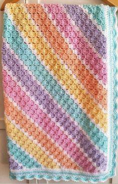 Baby corner to corner crochet blanket Crochet Afgans, Baby Afghan Crochet, Afghan Crochet Patterns, Crochet Stitches, Knitting Patterns, Knit Crochet, Baby Afghans, Crochet Crafts, Crochet Projects