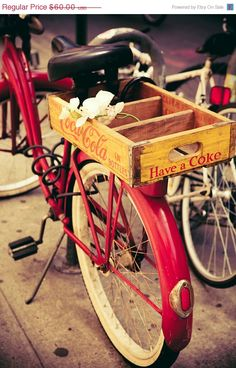 Vintage Red Bicycle and Yellow Coca