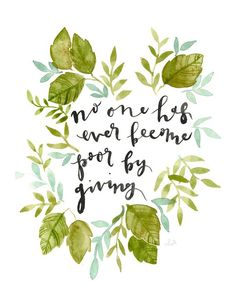Giving Quote - watercolor poster print