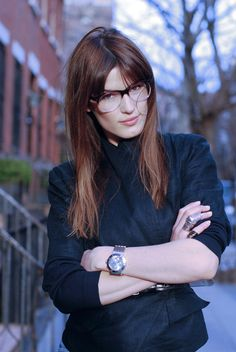 all of the above #long #hair #watch #ring #glasses #bangs #blazer