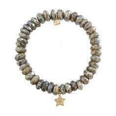 Small Yellow-Gold & Diamond Star on Diamond Labradorite