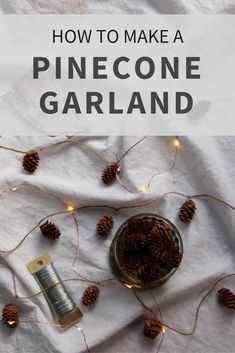 Nature-inspired ornaments are the perfect traditional holiday decor. This easy DIY pinecone garland is a simple way to bring a little bit of nature into your home during the Christmas season. It's quick to make and looks lovely hung on a plain wall or the Christmas tree. Classic Christmas Decorations, Easy Christmas Crafts, Rustic Christmas, Christmas Ornaments, Holiday Ideas, Christmas Ideas, Christmas Tree, Natural Christmas, Simple Christmas
