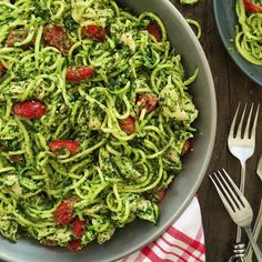 Paleo Chicken and Pesto Zucchini Noodles