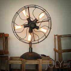 industrial electric fan table lamp