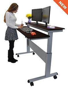 "60"" Split Top Electric Stand Up Desk (Dark Walnut Shelves)"