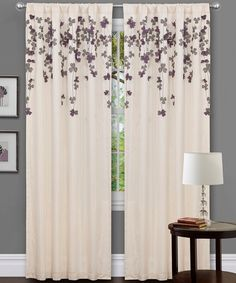 Ivory & Purple Flower Drop Curtain Panel | Daily deals for moms, babies and kids.  Love them!