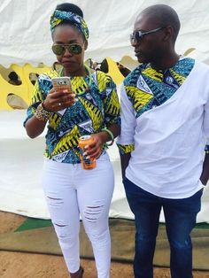 2018 Beautiful Ankara Styles For Young Couples - Earth Lex Couples African Outfits, African Clothing For Men, African Shirts, Couple Outfits, African Print Fashion, Africa Fashion, African Attire, African Wear, African Fashion Dresses