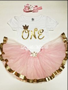 Girl pink and gold birthday outfit pink and gold by LilyandMax