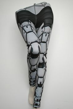 Bionic Leggings  Size S Light Grey  Printed Metal Robot by Mitmunk, $79.00