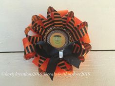 Halloween Hair Clip, holiday hair accessories, monster clip, orange and black clip, child hair bow by MyKurlyKreations on Etsy https://www.etsy.com/listing/458374258/halloween-hair-clip-holiday-hair