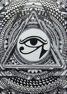 Mystic eye - Zen and Anti stress Coloring Pages for Adults - Just Color Illuminati, Egyptian Eye, Egyptian Symbols, Psychedelic Art, Pyramid Eye, Mystic Eye, Pop Art, Eye Of Ra, Ancient Egypt