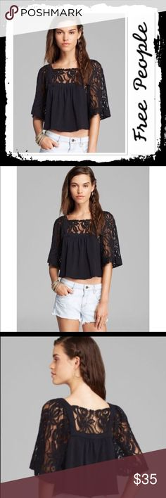 NWT Free People Catalina Crop Top Brand new size XS black crop top with lace sleeves Free People Tops Crop Tops