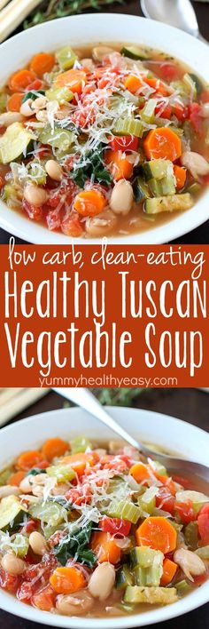 You won\'t believe the flavor in this easy-to-make Tuscan Vegetable Soup! Who knew healthy could taste so good?! This healthy soup is gluten-free, vegetarian, clean-eating and low carb. The best part? Is it SO GOOD!
