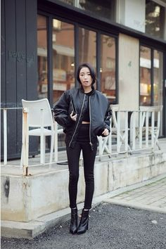 Black on black. Bomber jacket.