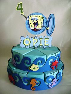 SpongeBob FavorCake | FavorCakes by Erica | Flickr Birthday Crafts, Birthday Party Decorations, Birthday Cake, Food Bouquet, Pie Box, Cricut Cake, Food Packaging Design, Paper Cake, Box Cake
