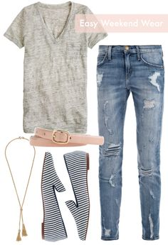 Gray tee, distressed jeans, striped loafers