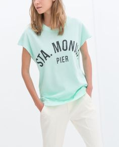"""ZARA - TEXT T-SHIRT """"STA. Monica Pier"""""""