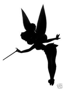 Tinkerbell silhouette. Would make a cute dainty tattoo! or painted on a wall ooooh i want my kids to have a peter pan themed room!