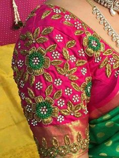 Check out the latest blouse design images. This will give you a better idea on which blouse design for your next saree purchase Hand Work Blouse Design, Simple Blouse Designs, Stylish Blouse Design, Blouse Neck Designs, Blouse Patterns, Peacock Blouse Designs, Dress Paterns, Wedding Saree Blouse Designs, Pattu Saree Blouse Designs