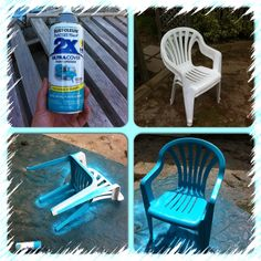 My crusty old chairs... I wiped them clean with a dry cloth, then sprayed them turquoise with a rustoleum spray paint that has a primer paint in one and that binds to plastic!  Try it, quick and easy fix for those hideous white plastic chairs!! The kids love them!